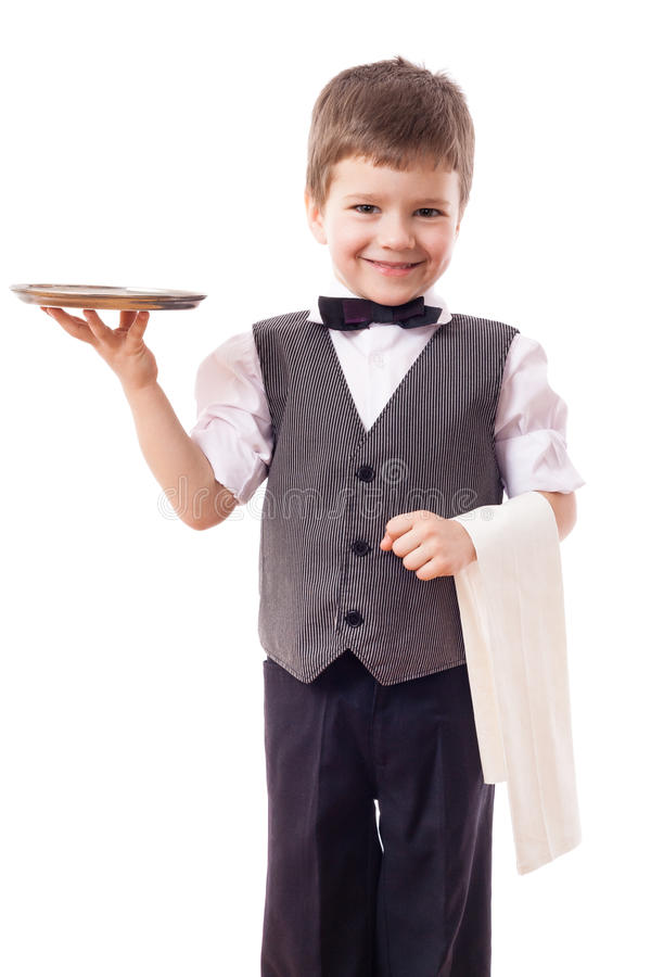 little waiter tray towel kid standing isolated white 68878859